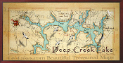 Deep Creek Lake Map 16x32 Canvas Print