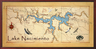 10x20 Oak Shores Lake Nacimiento Map print