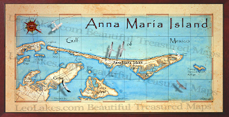 10x20 Anna Maria Island Canvas Map Print