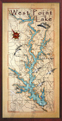 West Point Lake Map Vertical  10x20 print