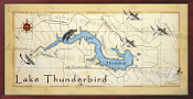 Lake Thunderbird Decor Map 16X32 canvas print